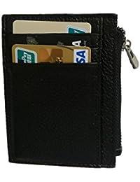 Negro Delgada Cartera Para Hombre- Minimalista RFID Tarjetero Cuero MonederoCon bolsillo de monedero con cremallera