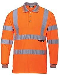 Fast Fashion Oben Herren Lange Ärmel Voller Polo Kragen T-Shirt Hi Viz Reflektierende Arbeitskleidung Sicherheits