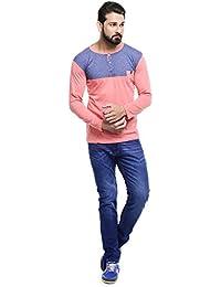 MakeOver Shiny Blue Cotton Slim Fit Jeans For Men