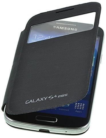 PhoneStar Flip Cover Etui Housse avec fenêtre pour Samsung Galaxy S4 Mini i9190 / i9195 en noir