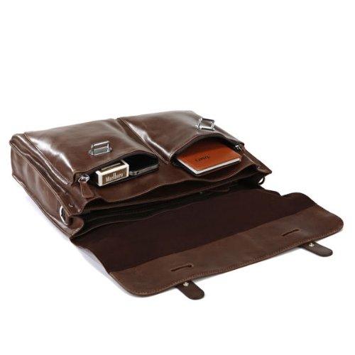 Everdoss Hommes sac à main en cuir véritable sac à bandoulière sac de messager sac de business sac d'affaires brun foncé