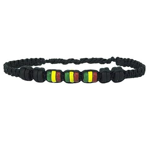 Chic-Net perles en bois noir jaune vert bracelet de fil de cire rouge handgefädelt bracelets de l'amitié