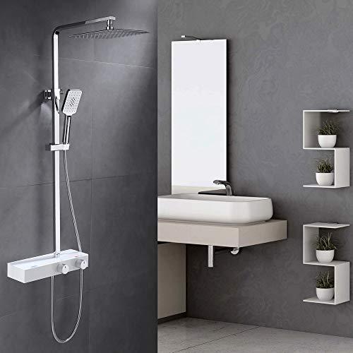 Amazon Marke: Umi. Essentials Duschset Eckig Duschsystem Duschpaneel Duscharmatur mit Duschregal Kopfbrause und 3 Funktionen Handbrause Regenbrause Duschstange