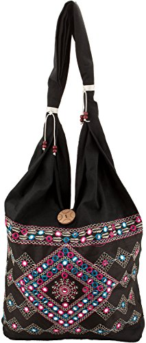 Handicraft jhola bag ethnic design beautiful embroidery work must for a girl and women/Ladies By Shop Frenzy (DEEP BLACK)