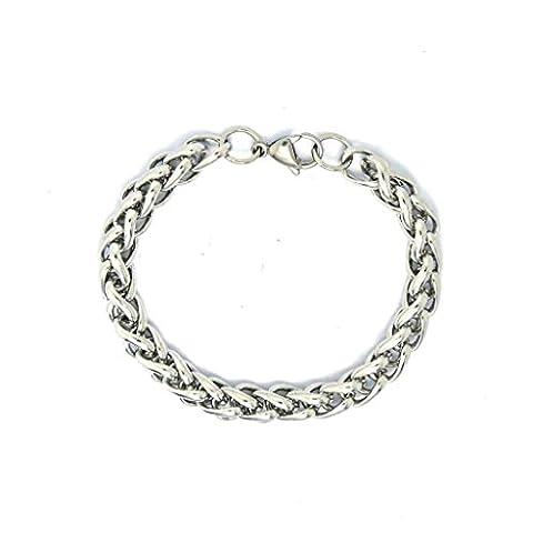anazoz Fahsion Jewelry simple personnalité hommes de mode simple bracelet en acier inoxydable Lien Longueur 21cm fermoirs en Pince de homard Argenté