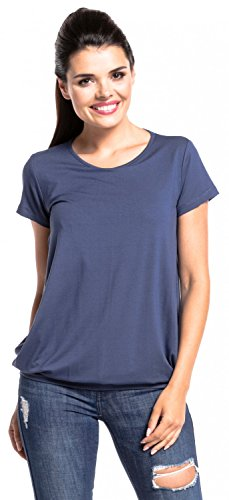 Zeta Ville - Zweilagiges T-shirt Stillzeit Top Schwangere Kurzarm - Damen - 436c Blau Grau