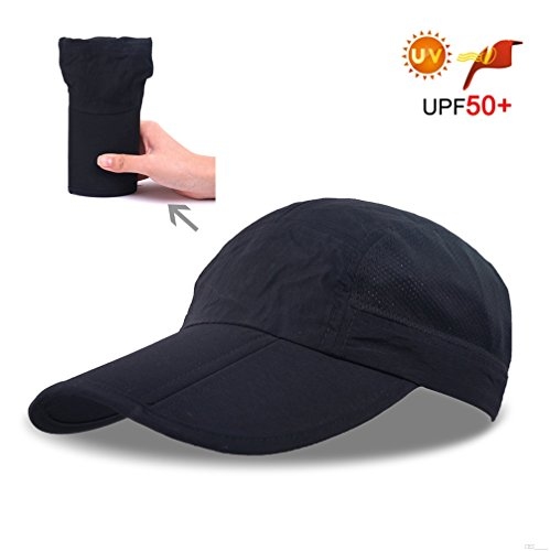 Folding Baseball Cap Summer Mesh,Running Hats Men Visors Sport Cap Outdoor Sport Waterproof Hat Trucker Hat Hiking Cycling with 3.54in Brim 19-24in Adjustable Unisex Hat 63g Black BE37 (Strapse Outdoor Research)