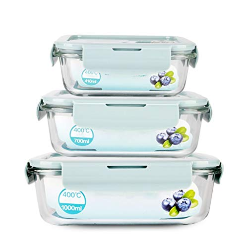 Brotdose Rechteck Bento Lunch Box Container 3-teiliges Set Glas isoliert auslaufsicheres Fach tragbare Mikrowelle Teen School Office MUMUJIN (Color : Blue) (Office Glas Lunch-box)