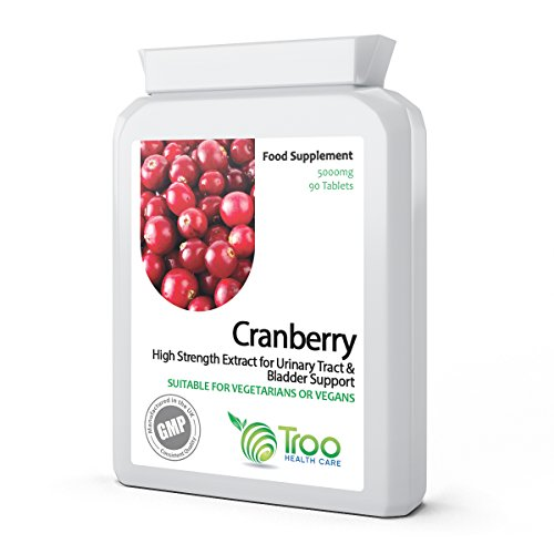 Cranberry 5000mg 90 Tablets - High Strength Daily Supplement to Support a Healthy Urino-Genital Tract, Kidneys and Bladder, Healthy Heart & Cardiovascular Function, Healthy Circulation & Healthy Bacteria Balance Test