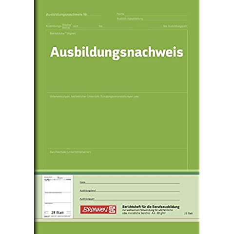 Brunnen 1042577 - Bloc de formularios para certificar formación profesional, en alemán, A4, hojas en blanco, 28 hojas, color verde
