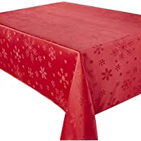 Blizzard Snowflake Red Christmas (Xmas) Rectangular Tablecloth Ideal For 4-8 Place Settings (52x90in-132x228cm Approx)