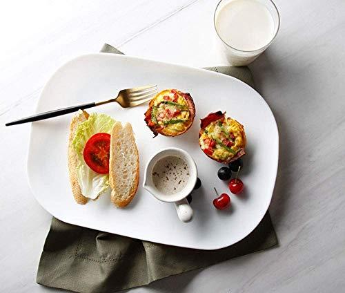 Canju Geschirr/Besteck/Outdoor/Camping Geschirr Frühstücksteller Steakplatte Europäische Hartglasplatte Kreative Westplatte Obstteller 10 Zoll Weiß - Mikrowelle 10 Glas Zoll