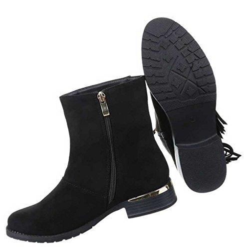 Damen Stiefeletten Schuhe Boots Designer Schwarz Schwarz