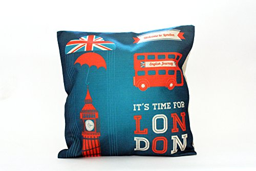 Kissenbezug Fulko 40x40cm Kissenhülle blau England Fahne London Big Ben City Union Jack Nostalgie Kissen Leinen Optik Dekokissen