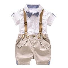 Idea Regalo - BYSTE bambino Ragazzo Carino piccolo vestito Gentleman,Colore puro Manica corta camicia Estate T-Shirt Top+ Bretelle Pantaloncini + Cravatta 3Pcs (bianca, 12 mesi)