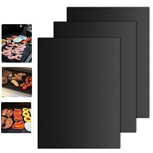 41yqHvPZSDL - BBQ Grillmatte (3er Set) – iLOME Teflon Antihaftbeschichtung Grillmatte für Holzkohle Grill, elektronisches Grill, Backofen, Dampf-Backofen, Mikrowelle, etc. 33x40CM