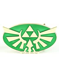 "Bioworld Nintendo Legend of Zelda Green and Gold Triforce Belt Buckle 5""x3.5"""
