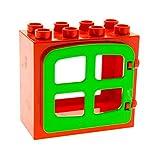 1 x Lego Duplo Haus Fenster Tür Rahmen rot Türumriss Rückseite Ausschnitt Gross 2x4x3 4 Scheiben abgerundet hell grün 4809 2332