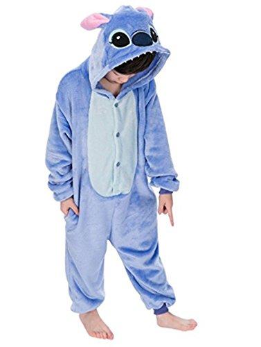 Warmes Unisex-Karnevals-Kostüm für Kinder, Einhorn Eule Zebra Giraffe Kuh, für Halloween Fest Party, als Pyjama, Tier-Kigurumi-Kostüm für Zoo-Cosplay, Einteiler - S/Höhe 115/125 cm - Stitch Azzurro