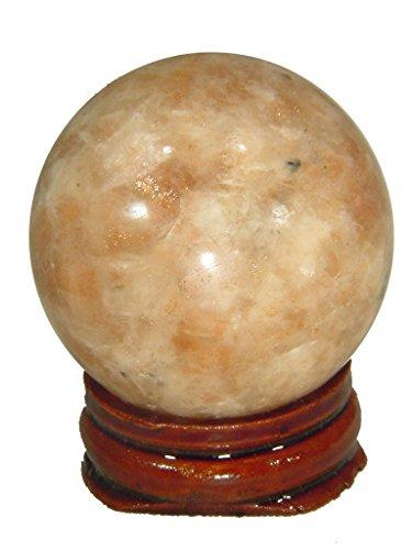 Naturel indien Pierre de soleil 4,3 cm Pierre précieuse de Sphère Lapidaire avec support