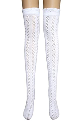 Ladies sexy white thigh high pelerine cotton stockings well above / over the knee socks (1 pair small