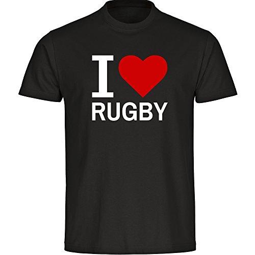 Multifanshop T-Shirt Classic I Love Rugby schwarz Herren Gr. S bis 5XL, Größe:XXXXL -