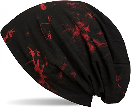 styleBREAKER Beanie Mütze mit Batik Muster, Vintage Washed Look, Slouch Longbeanie, Unisex 04024081, Farbe:Schwarz-Rot -