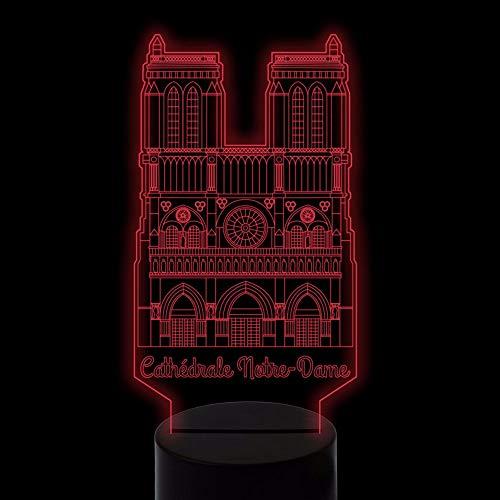 Dwthh 3D Decor Vision Gebäude Führte Schreibtischlampe 7 Farben Ändern Schlaf Usb Kathedrale Notre Dame De Paris Nachtlicht Home Office Decor