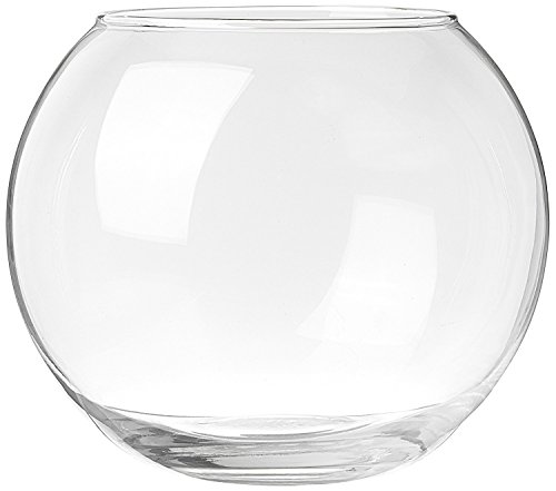 GLASS ROUND FLORA VASE. ONE UNIT.
