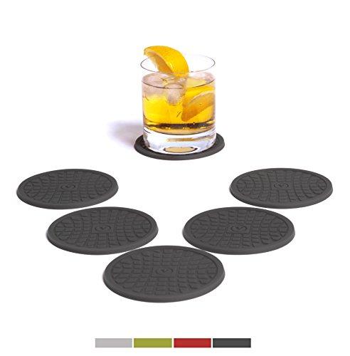Silikon Glasuntersetzer in Premium Qualität/ VENDOLO Getränke-Untersetzer dunkel-grau (6 Stück)/ pflegeleicht, modernes Design, praktisch