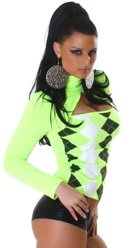 Jela London Damen Langarm-Shirt mit Karo-Muster Neongelb