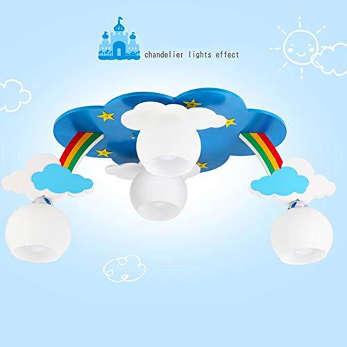 LED Cartoon Muster MDF Kinderzimmer Deckenleuchte, E27 Schraube 4 Lichter Kreative Glas Lampenschirm Junge Mädchen Schlafzimmer Lampe-WhiteLampshade -