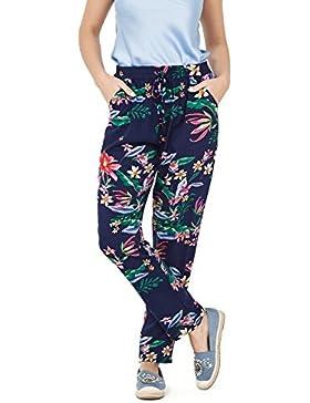 VISSTEME Pantalón Fluido Estampado Flores Azul Marino
