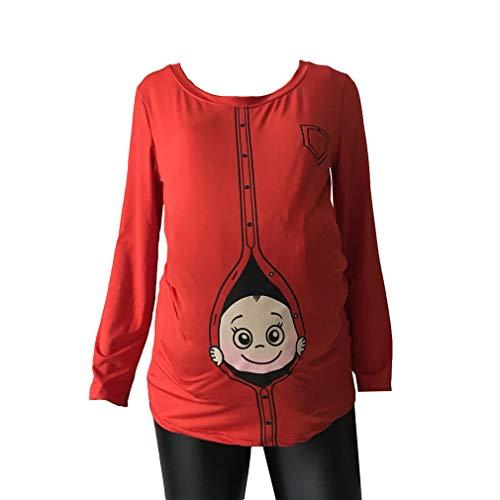 e6e31cba9 Fangcheng Maternidad Embarazada Linda Camisetas Embarazo Casuales Ropa de  Maternidad con Bebé Mirando hacia Fuera Camisas