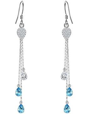 Clearine Damen 925 Sterling Silber Böhmisch Boho CZ Tropfen Hook Ohrringe Aquamarinblau mit Klar Kristall von...
