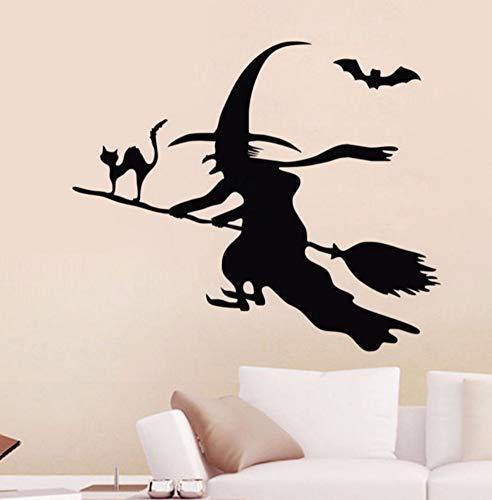 aufkleber Kinderzimmer Fliegende Fledermaus Hexe Auf Dem Besen Wandtattoos Vinyl Kunst Aufkleber Katze Tiere Wanddekor 49X59 Cm ()