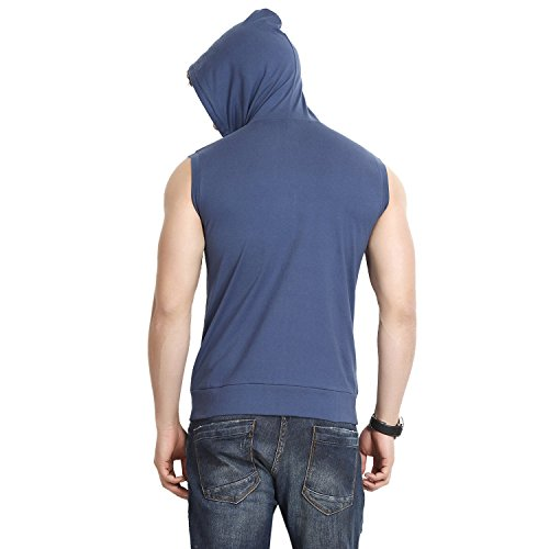 Gritstones Men's Hooded Cotton Zipper Jacket (GS60217JKTNBLU(1)_Blue_Large)