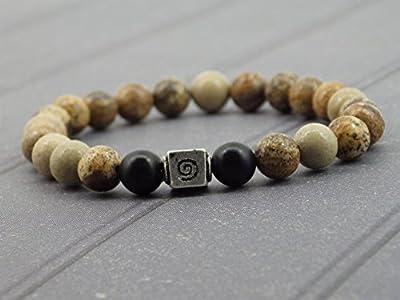 Bracelet Miss chichi pour homme en perles de jaspe, perle en Agate et perle tibétaine.