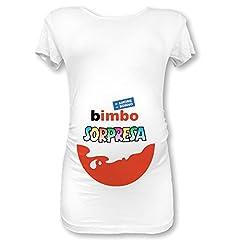 Idea Regalo - T Shirt Maglia Premaman Bimbo Sorpresa (S Manica Corta, Bianca Maschietto)
