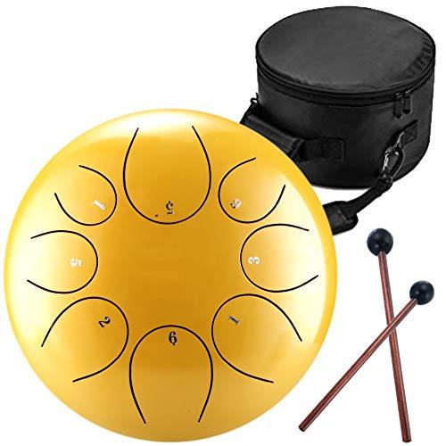 Handpan Zungentrommel 8 Noten 12 Zoll Chakra Tank Drum Stahl Percussion Hang Drum Instrument mit gepolsterter Reisetasche und Schlägel gold