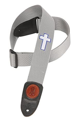 Levy's Leathers Mss8hc-gry 2 inch Polypropylene Strap with Embroidered Holy Cross - Grey