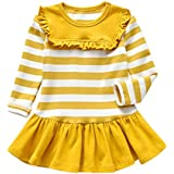 Binmer(TM) Children Casual Cotton Dress Baby Girl Solid Full Sleeve Stripe Casual Princess Dress Tops (12Month-5Years)