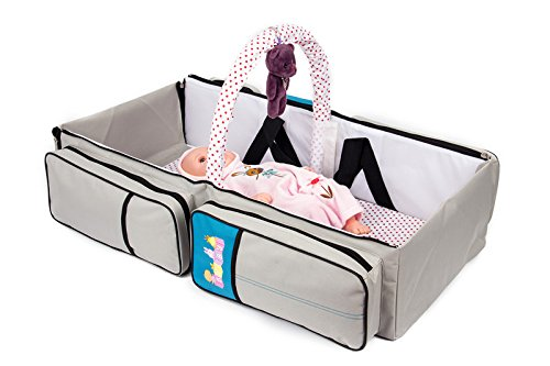 2 in 1 Wickeltasche Pflegetasche Babytasche Reise Babybett Moskitonetz (blau) grau