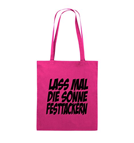 Comedy Bags - LASS MAL DIE SONNE FESTTACKERN - Jutebeutel - lange Henkel - 38x42cm - Farbe: Schwarz / Pink Pink / Schwarz