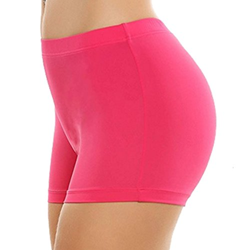 Khanomak Damen Tanz-Shorts, im Stil der Hollywoodstars, Standardgröße/Übergröße, Einheitsgröße, kurz - Einheitsgr??e - neon pink - Nylon Spandex Pink Panty Kurz