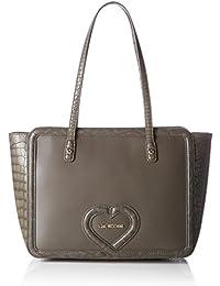 Love Moschino - Borsa Calf Pu+croco Pu+liz.pu Grigi, Bolsos totes Mujer, Grau (Grey), 26x45x13 cm (W x H D)