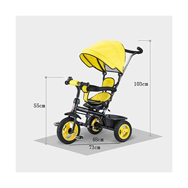 Detachable Rotating Seat Reclining Backrest Kids Children Trike Tricycle Wning Suitable for 6 Months -5 Years Old Kids (Color : Yellow) DUOER-Pushchairs Features assembled canopies without worrying about rain and sunshine,Safety features and safety belts are provided for safety. The pedal can be folded for more convenient use: the pedal can be folded to make travel more convenient. Upgrade the thickened sponge pillow to protect the baby's head and make the baby ride safer. 2