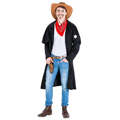 dressforfun Costume da Uomo - Cowboy Willy | Trench assolutamente cool in Look Similpelle | incl. Disinvolto fazzoletto da collo rosso (XXL | No. 300573)
