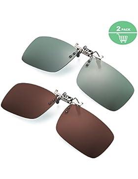2 Pares Gafa de Sol Polarizada con Clip de - Gafas Conducción/Golf/ y Mucho Más Deportes Exteriores,100% de Protección...