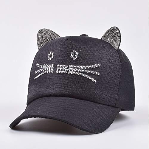 kyprx Orecchie di Gatto con Cappellino da Baseball con Diamanti